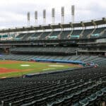 A general view of Progressive Field during the Cleveland Indians Summer Camp in preparation for a shortened MLB season during the coronavirus (COVID-19) pandemic on July 19, 2020, at Progressive Field in Cleveland, OH.