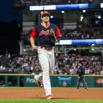 Cleveland Indians outfielder Bradley Zimmer (4) is all smiles as he comes off the field after making a diving catch during the fifth inning of the Major League Baseball game between the Kansas City Royals and Cleveland Indians on August 26, 2017, at Progressive Field in Cleveland, OH.