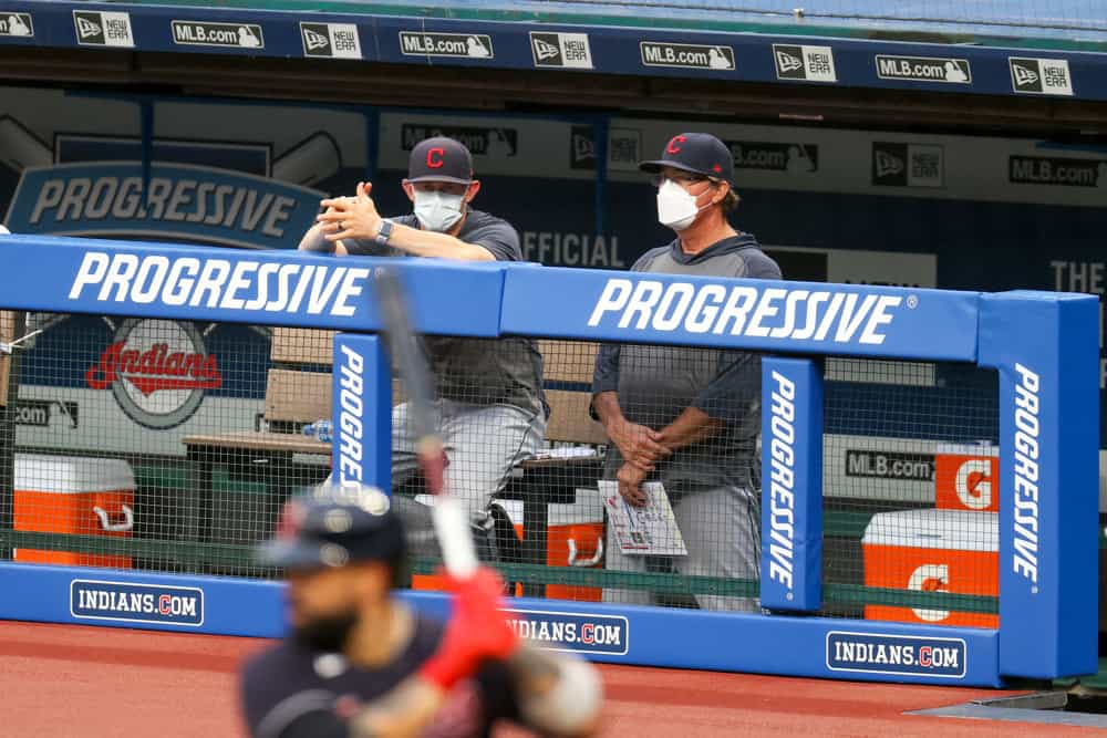 Members of the Cleveland Indians staff wear masks during the Cleveland Indians Summer Camp in preparation for a shortened MLB season during the coronavirus (COVID-19) pandemic on July 19, 2020, at Progressive Field in Cleveland, OH.