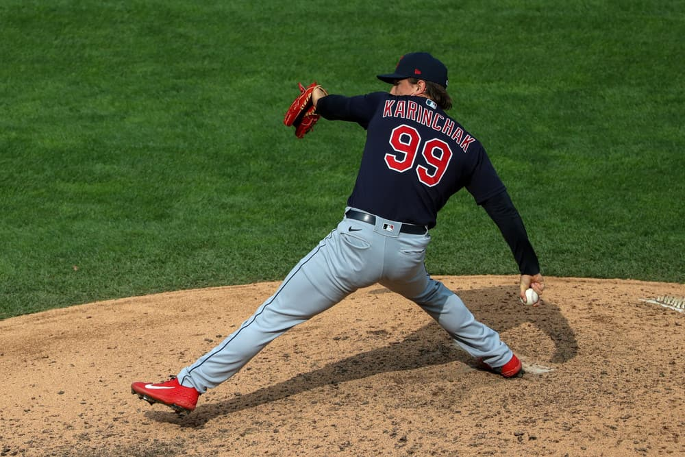 Cleveland Indians pitcher James Karinchak (99) throws a pitch during the MLB baseball game between the Cleveland Indians and the Minnesota Twins on September 13, 2020 at Target Field, Minneapolis, MN.