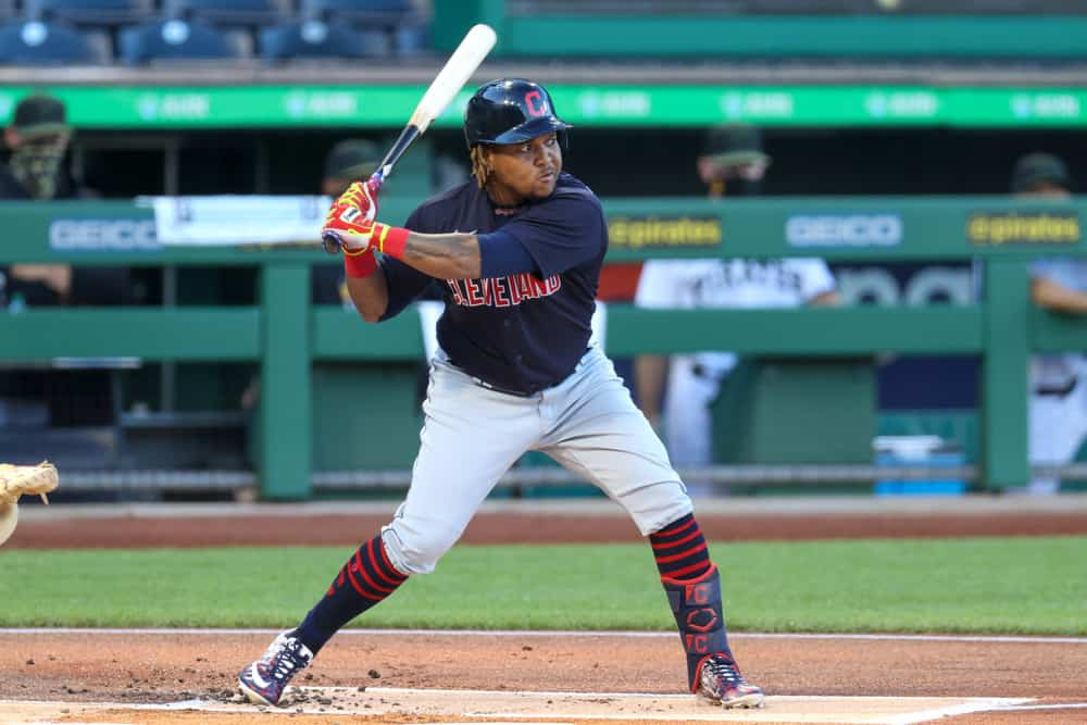 Cleveland Indians third baseman Jose Ramirez (11) at bat during the first inning of the Major League Baseball game between the Cleveland Indians and Pittsburgh Pirates on August 19, 2020, at PNC Park in Pittsburgh PA.