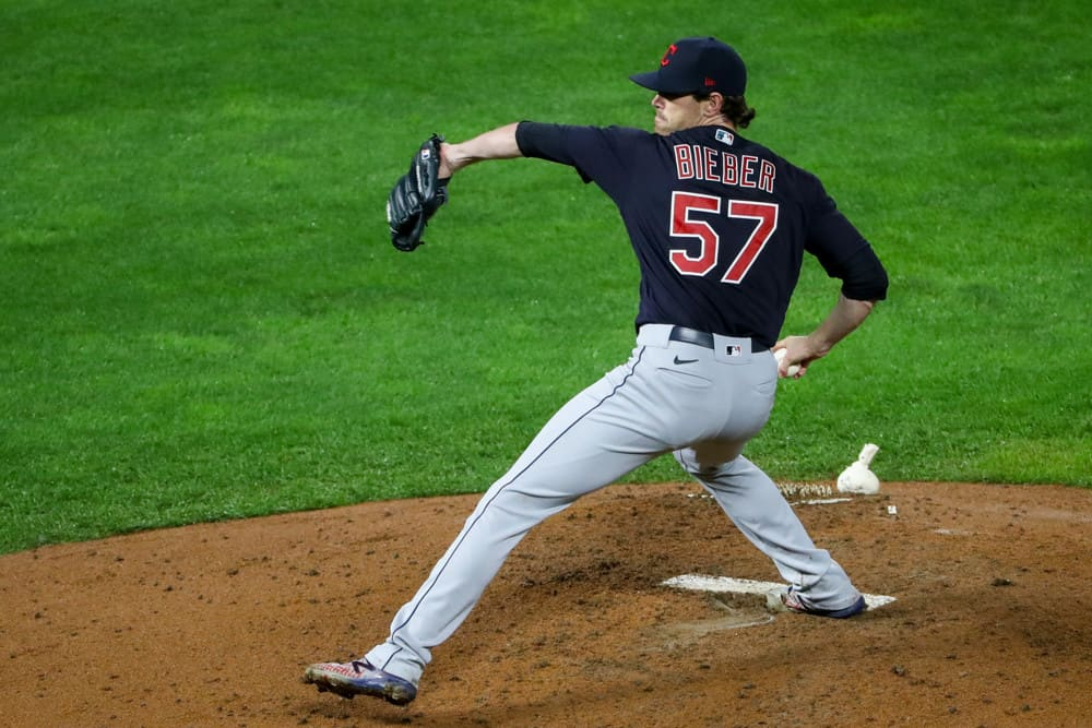 Cleveland Indians pitcher Shane Bieber (57) throws a pitch during the MLB baseball game between the Cleveland Indians and the Minnesota Twins on September 11, 2020 at Target Field, Minneapolis, MN.