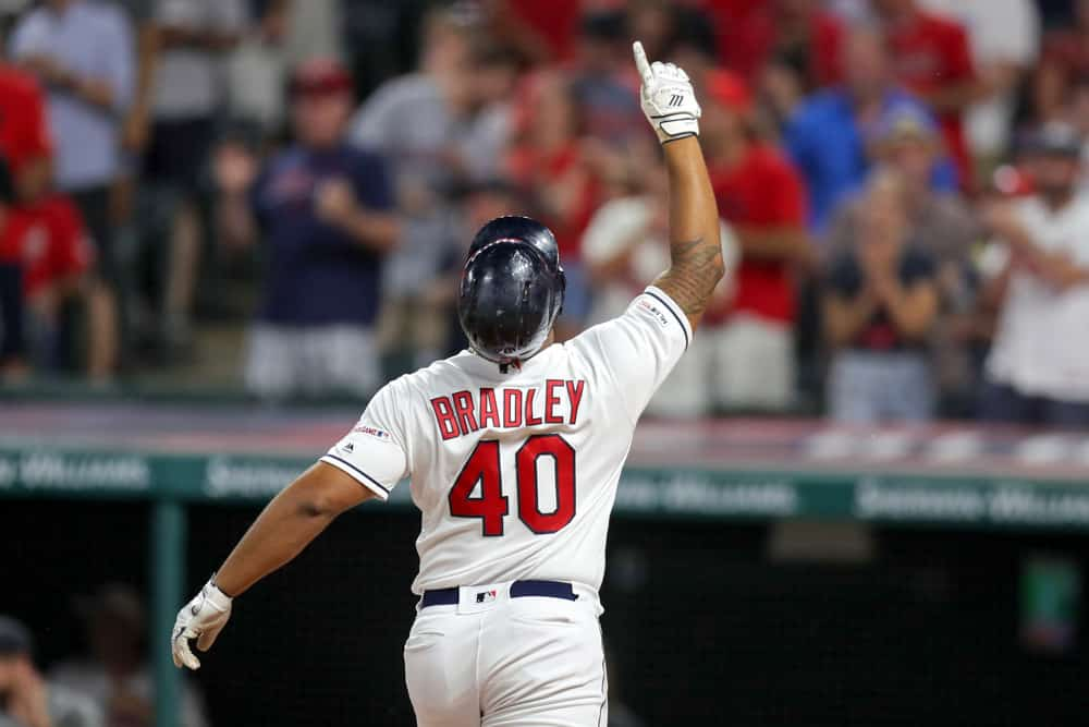 Cleveland Indians designated hitter Bobby Bradley (40) celebrates as he crosses the plate after hitting his first career home run during the seventh inning of the Major League Baseball game between the Minnesota Twins and Cleveland Indians on July 13, 2019, at Progressive Field in Cleveland, OH.