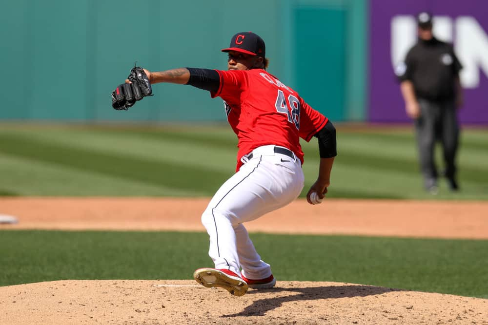 Cleveland Indians pitcher Emmanuel Clase (48) delivers a pitch to the plate during the eighth inning of the Major League Baseball game between the Kansas City Royals and Cleveland Indians on April 7, 2021, at Progressive Field in Cleveland, OH.