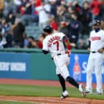 Cleveland Indians second baseman Cesar Hernandez (7) rounds the bases after hitting a 2-run home run during the fifth inning of the Major League Baseball interleague game between the Chicago Cubs and Cleveland Indians on May 11, 2021, at Progressive Field in Cleveland, OH.