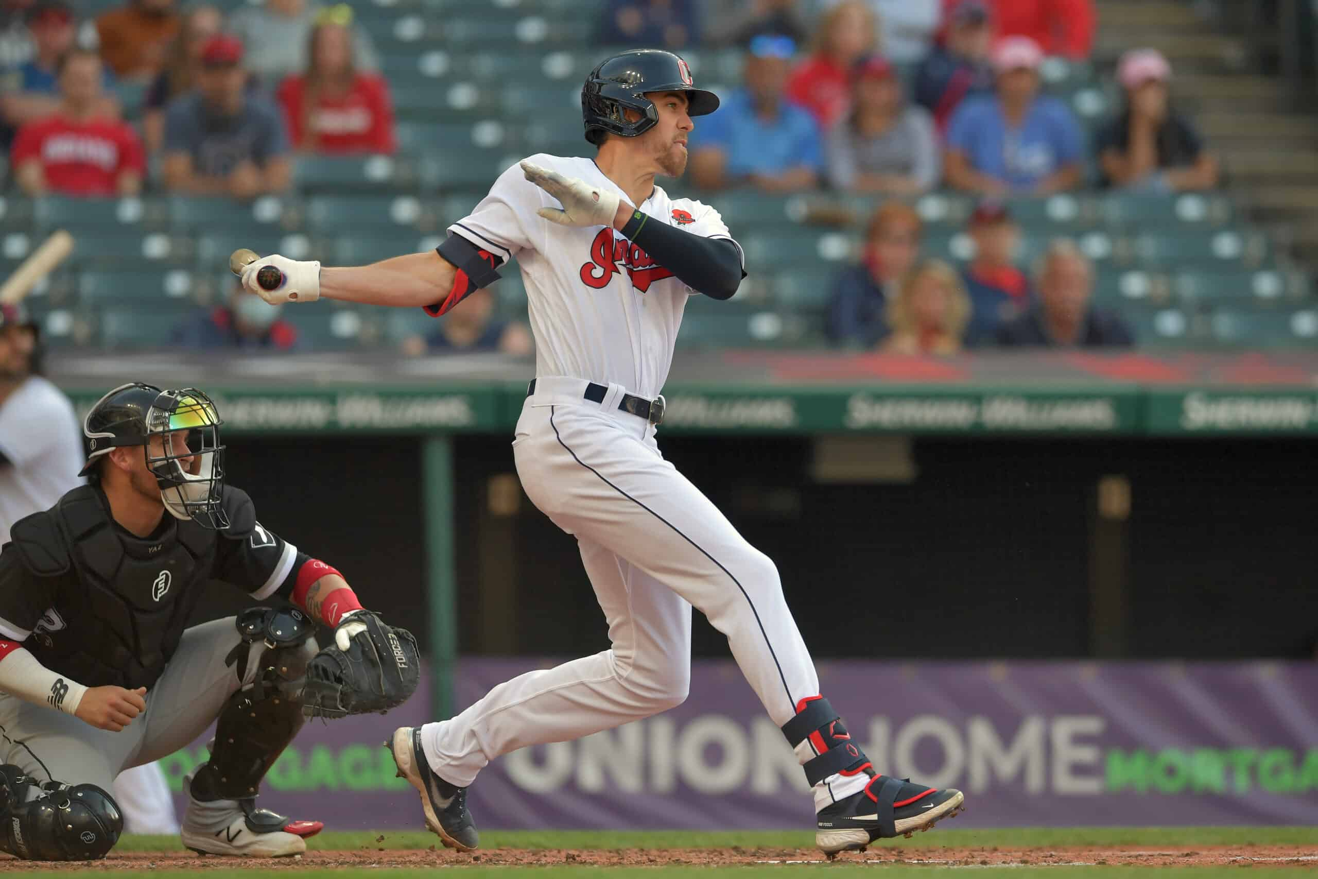 Bradley Zimmer #4 of the Cleveland Indians hits an RBI single during the second inning of game two of a doubleheader against the Chicago White Sox at Progressive Field on May 31, 2021 in Cleveland, Ohio.