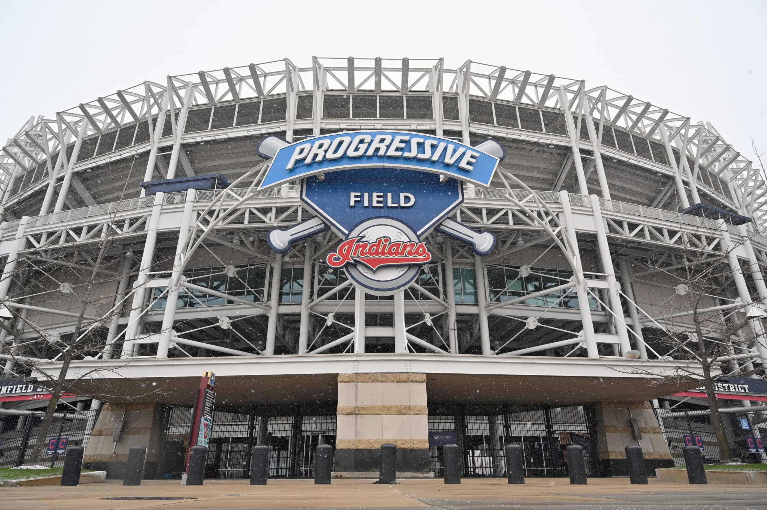 """The Cleveland Indians logo is seen at the team's Progressive Field stadium on December 16, 2020 in Cleveland, Ohio. The Cleveland baseball team announced they will be dropping the """"Indians"""" from the team name after the 2021 season."""