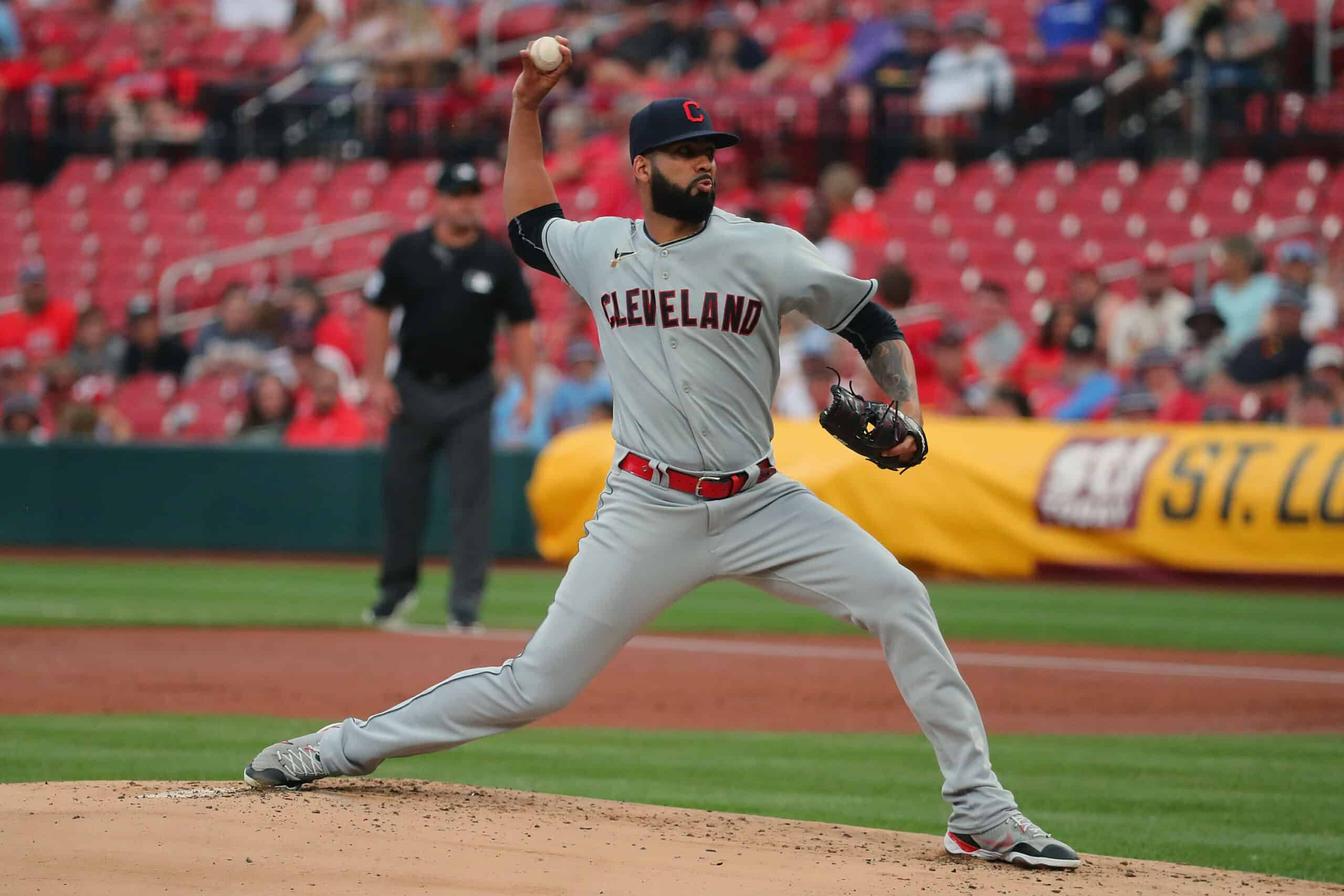 Jean Carlos Mejia #36 of the Cleveland Indians delivers a pitch against the St. Louis Cardinals in the first inning at Busch Stadium on June 9, 2021 in St Louis, Missouri.