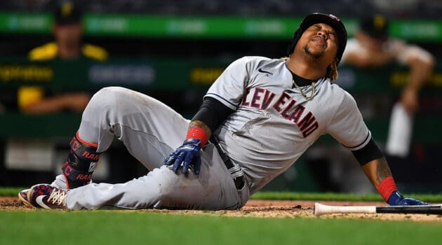 Jose Ramirez #11 of the Cleveland Indians reacts after being hit by a pitch during the eighth inning against the Pittsburgh Pirates at PNC Park on June 18, 2021 in Pittsburgh, Pennsylvania.