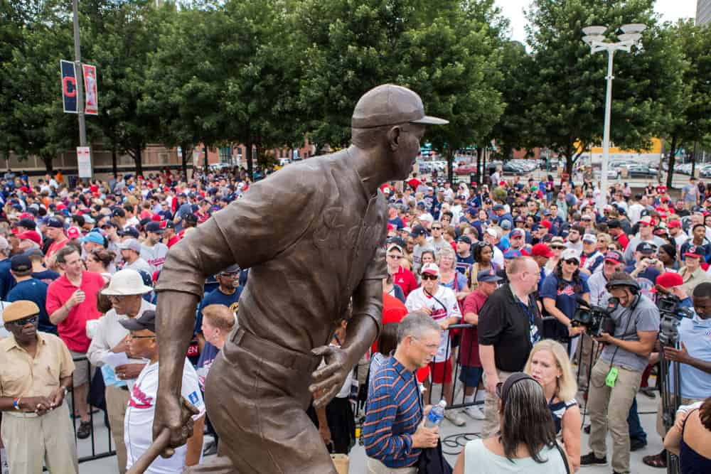 Fans fill the plaza outside Progressive field as the Cleveland Indians unveil a statue of Larry Doby, the man who broke the American League color barrier, prior to the game between the Chicago White Sox and Cleveland Indians at Progressive Field in Cleveland, OH.