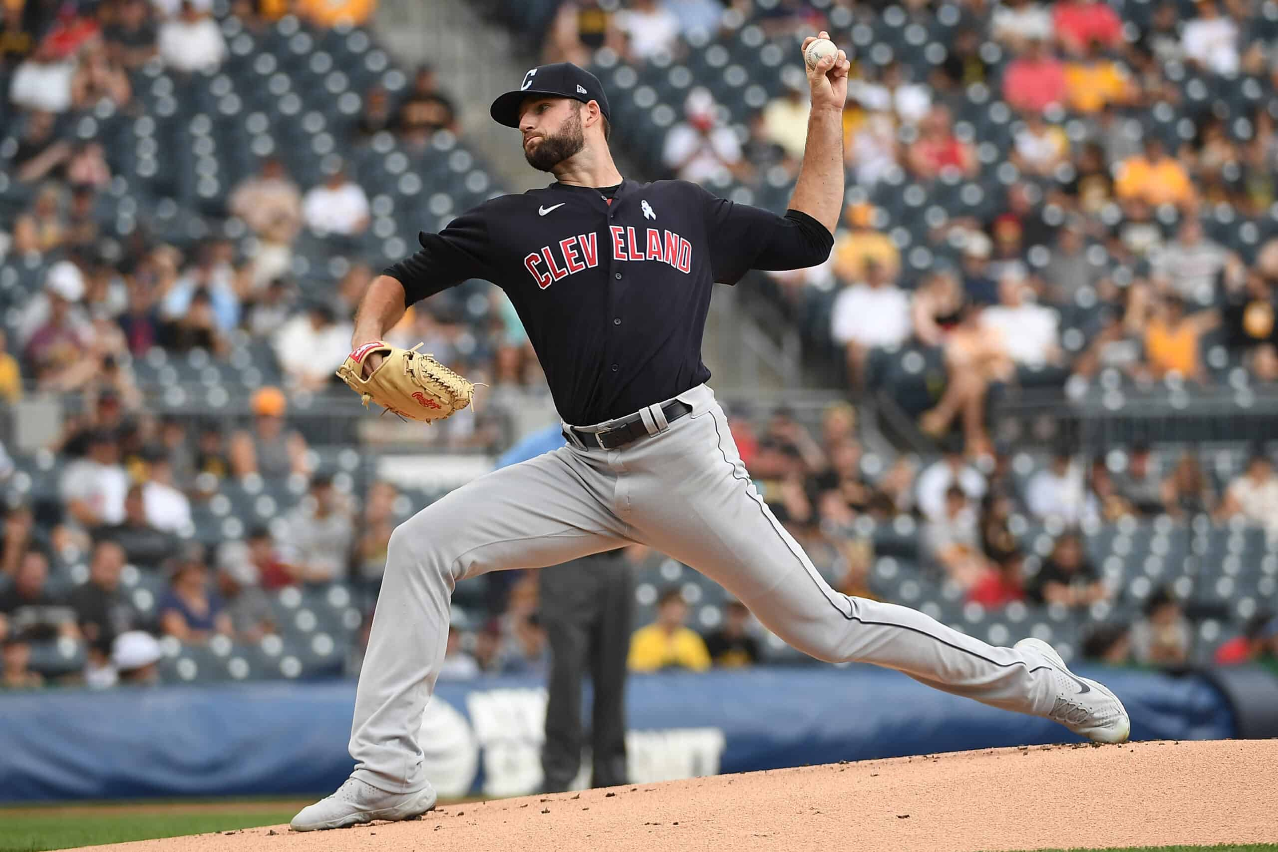 Sam Hentges #31 of the Cleveland Indians delivers a pitch in the first inning during the game against the Pittsburgh Pirates at PNC Park on June 20, 2021 in Pittsburgh, Pennsylvania.