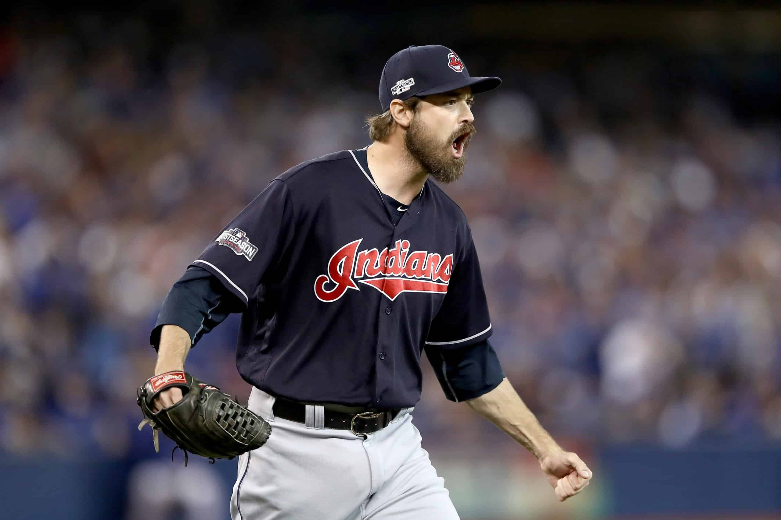 Andrew Miller #24 of the Cleveland Indians reacts after closing out the sixth inning against the Toronto Blue Jays during game five of the American League Championship Series at Rogers Centre on October 19, 2016 in Toronto, Canada.