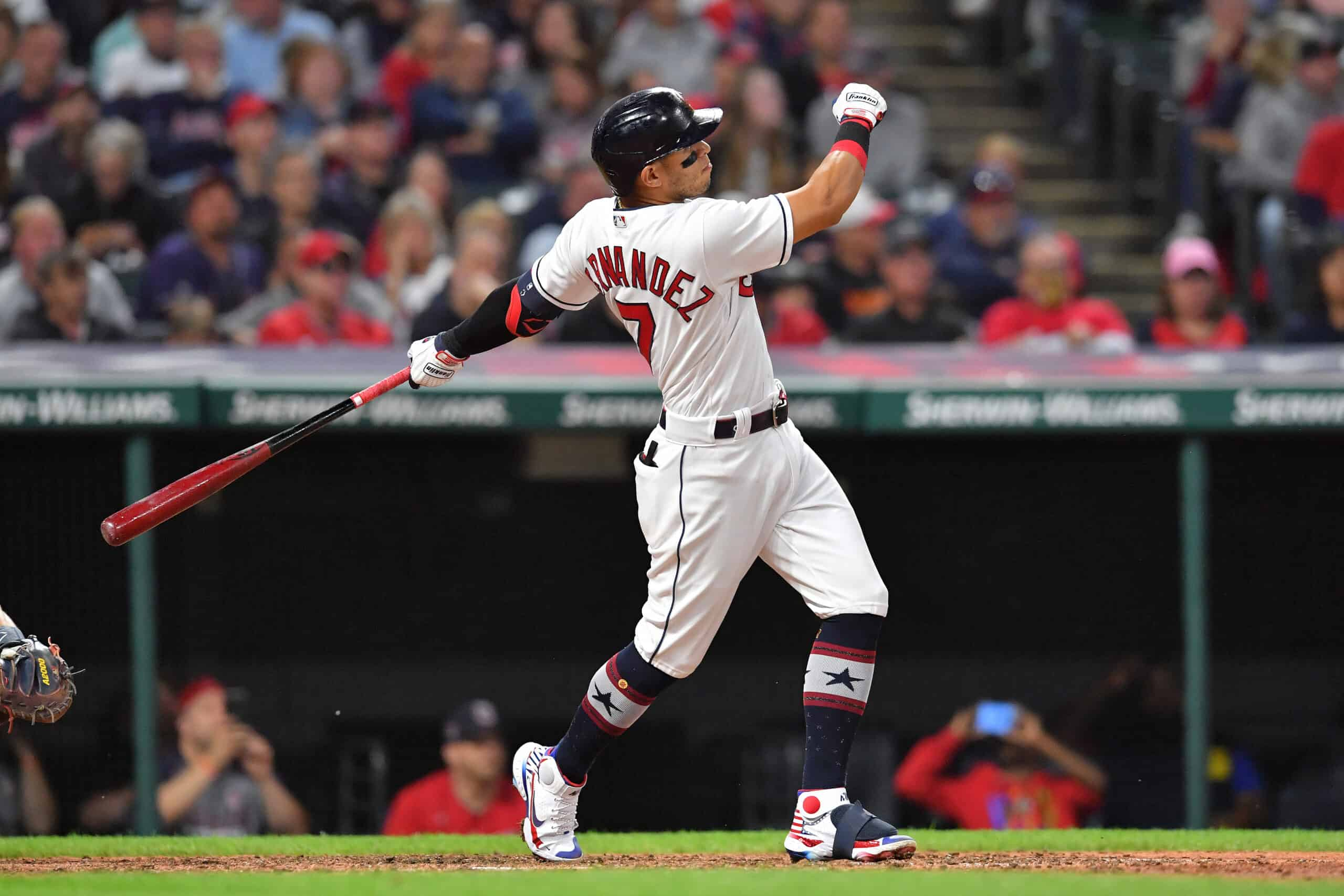 Cesar Hernandez #7 of the Cleveland Indians watches a three-run home run clear the left field fence during the sixth inning against the Houston Astros at Progressive Field on July 02, 2021 in Cleveland, Ohio.