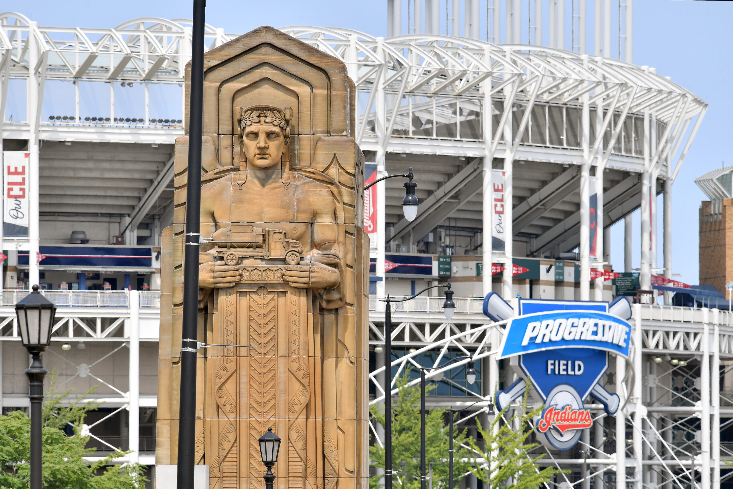 The Guardians of Traffic sculptures on the Hope Memorial Bridge near Progressive Field are the inspiration for the renaming of the Cleveland Indians to the Cleveland Guardians at the end of the 2021 season. The Indians announced the change at Progressive Field on July 23, 2021, in Cleveland, Ohio.