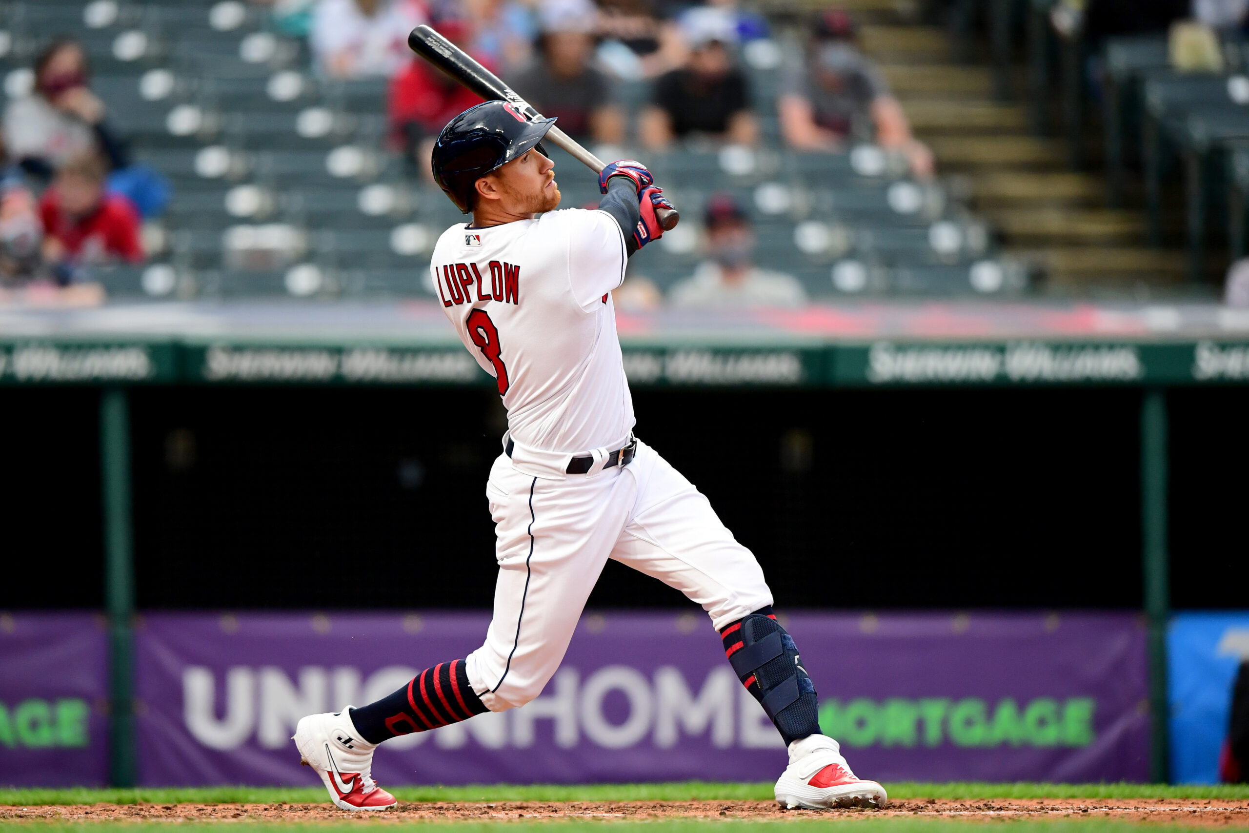 Jordan Luplow #8 of the Cleveland Indians hits a three-run home run in the fourth inning during a game against the Detroit Tigers at Progressive Field on April 10, 2021 in Cleveland, Ohio.