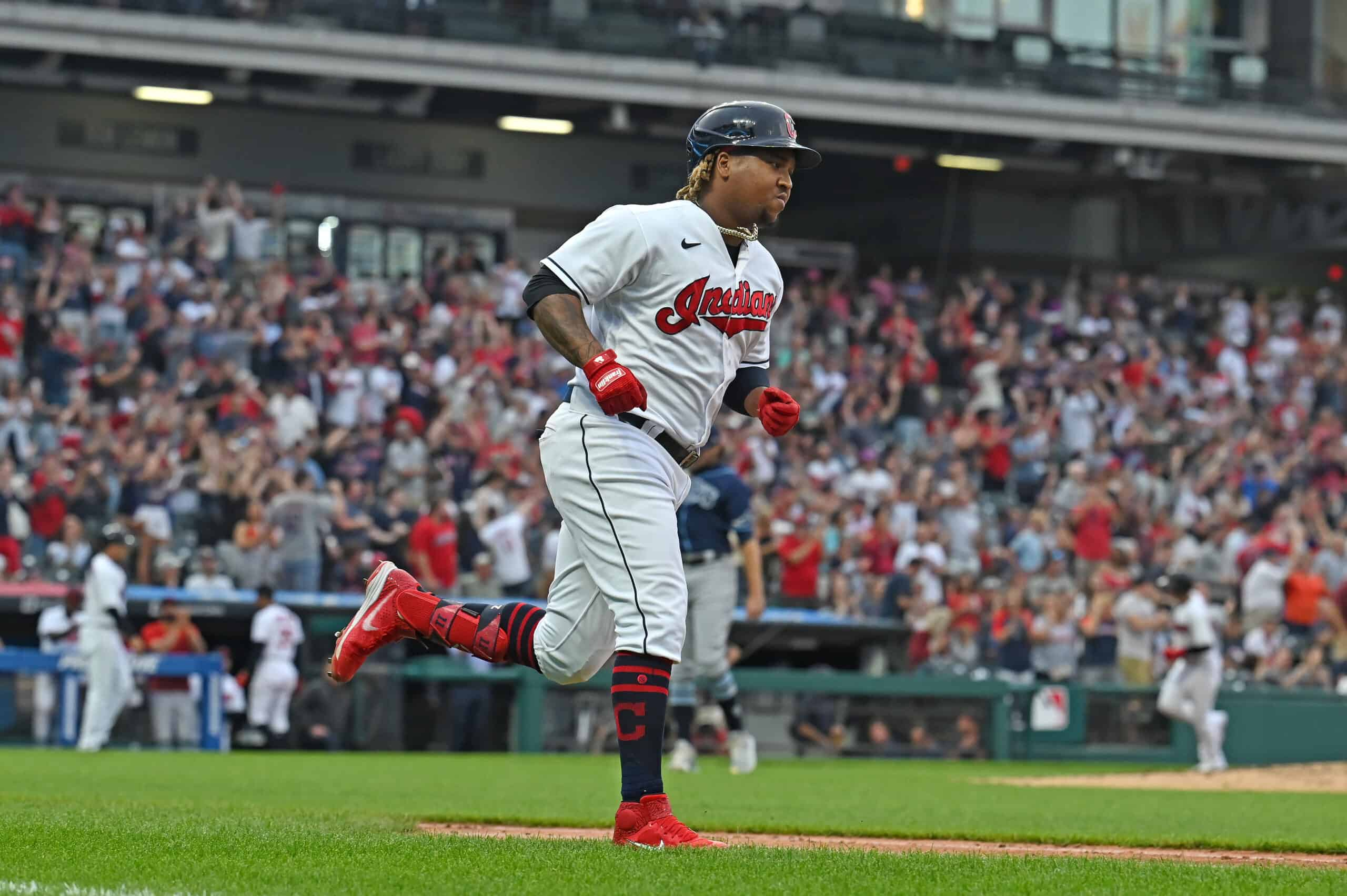 Jose Ramirez #11 of the Cleveland Indians runs out a three run homer during the third inning against the Tampa Bay Rays at Progressive Field on July 23, 2021 in Cleveland, Ohio.