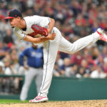 Relief pitcher Nick Wittgren #62 of the Cleveland Indians pitches during the ninth inning against the Tampa Bay Rays at Progressive Field on July 23, 2021 in Cleveland, Ohio.